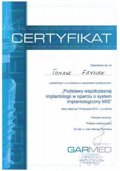 certyfikat stomatologiczny 1