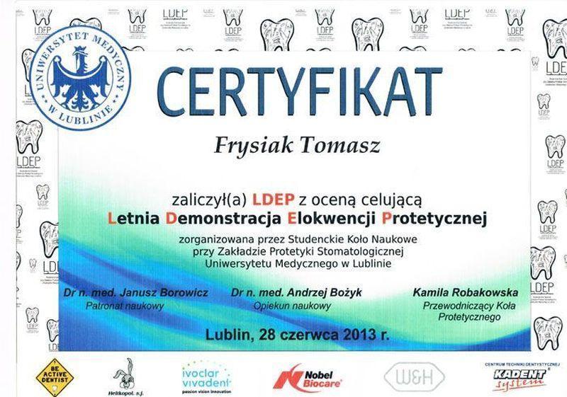certyfikat stomatologiczny 10