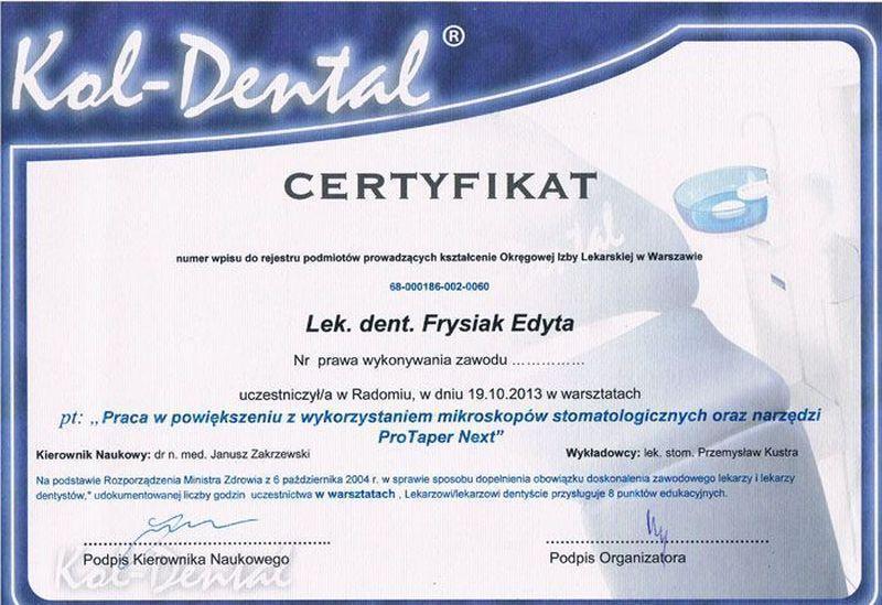certyfikat stomatologiczny 13