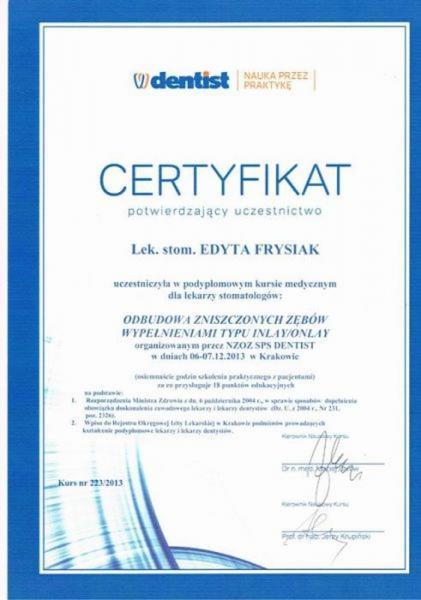 certyfikat stomatologiczny 14