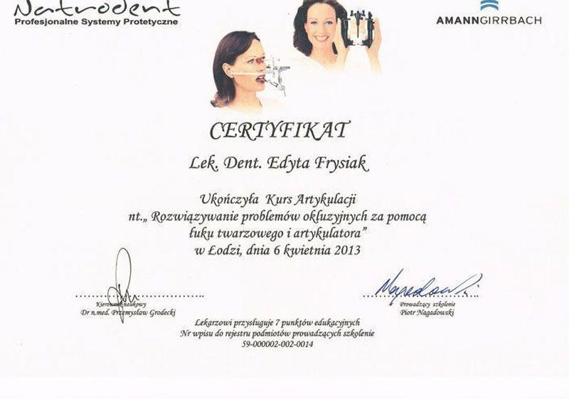 certyfikat stomatologiczny 15
