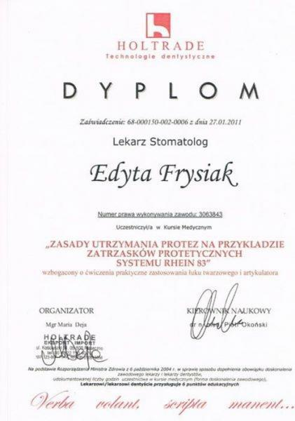 certyfikat stomatologiczny 16
