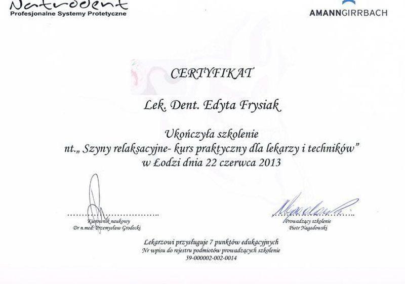 certyfikat stomatologiczny 17