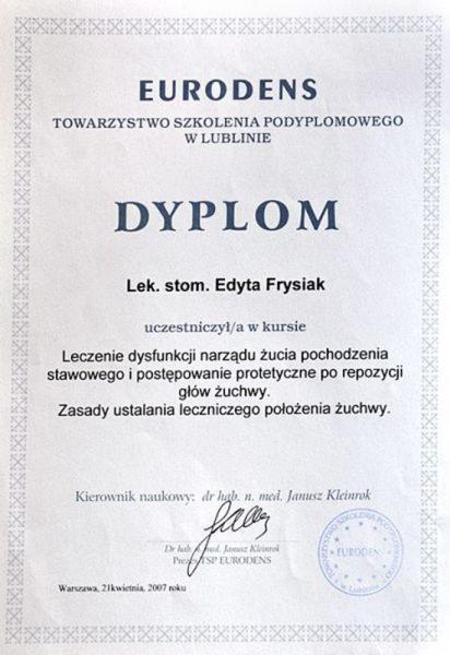 certyfikat stomatologiczny 18