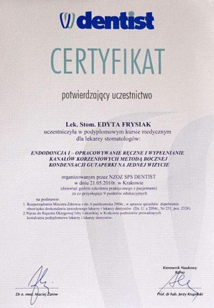 certyfikat stomatologiczny 19