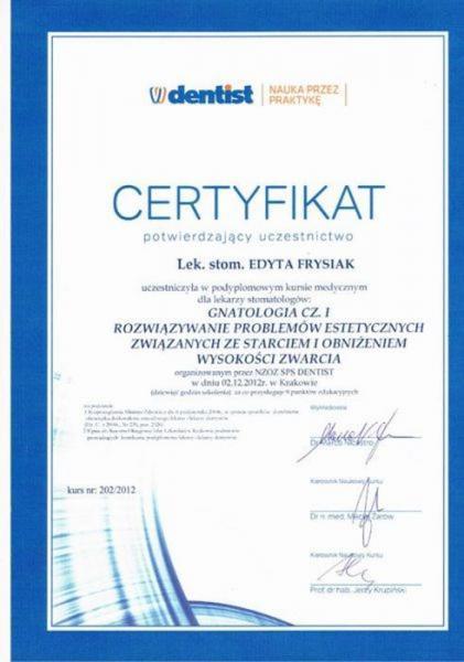 certyfikat stomatologiczny 2