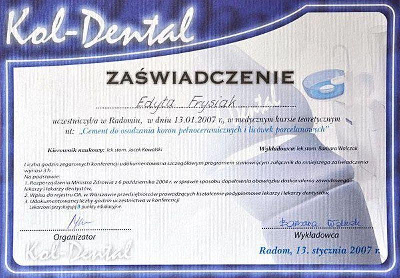 certyfikat stomatologiczny 20