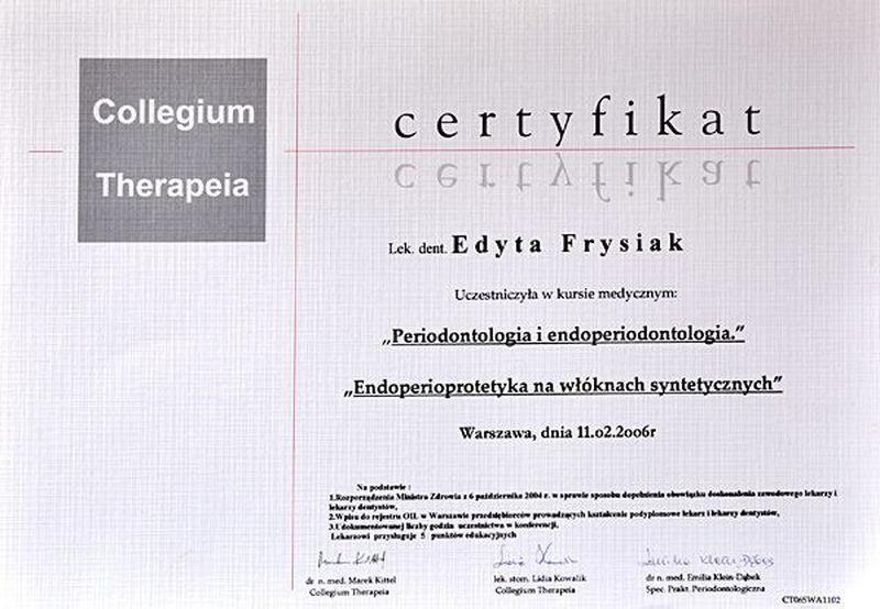 certyfikat stomatologiczny 21
