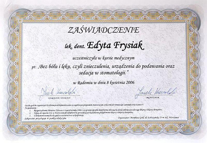 certyfikat stomatologiczny 22