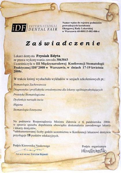 certyfikat stomatologiczny 23