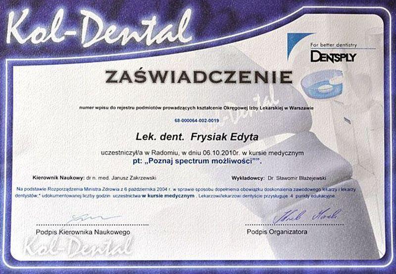 certyfikat stomatologiczny 24