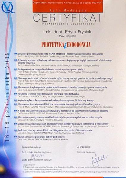 certyfikat stomatologiczny 25