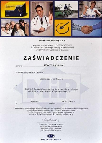 certyfikat stomatologiczny 26