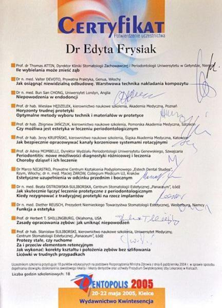 certyfikat stomatologiczny 28