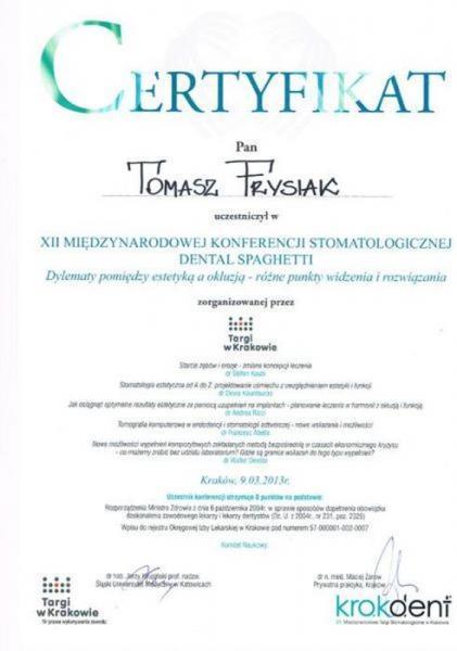 certyfikat stomatologiczny 5