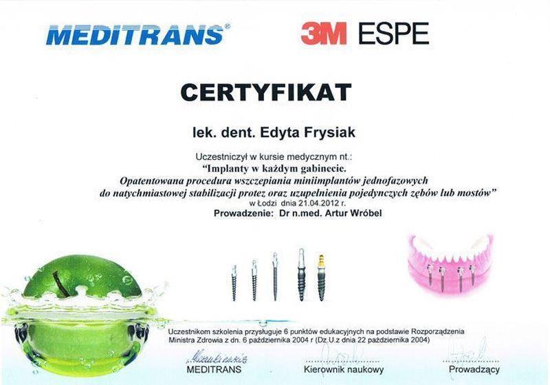 certyfikat stomatologiczny 9